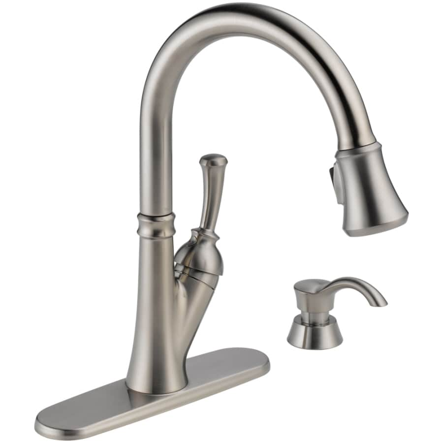 delta savile stainless 1 handle pull down kitchen faucet outdoor design ideas shop 1-handle deck mount pull-down ...