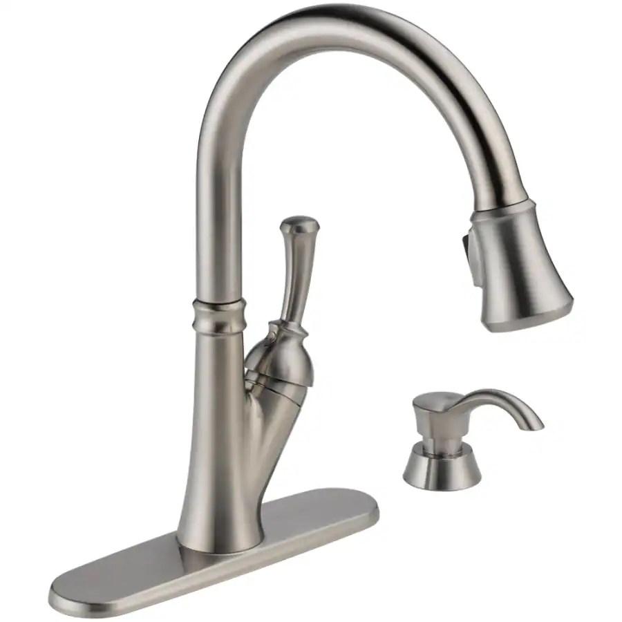 delta savile stainless 1 handle pull down kitchen faucet bridge faucets shop 1-handle deck mount pull-down ...