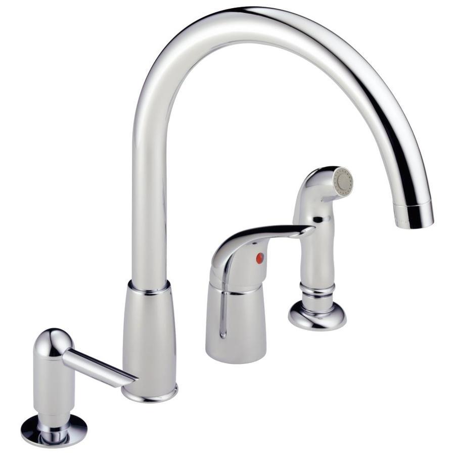 peerless waterfall chrome 1 handle deck mount high arc kitchen faucet