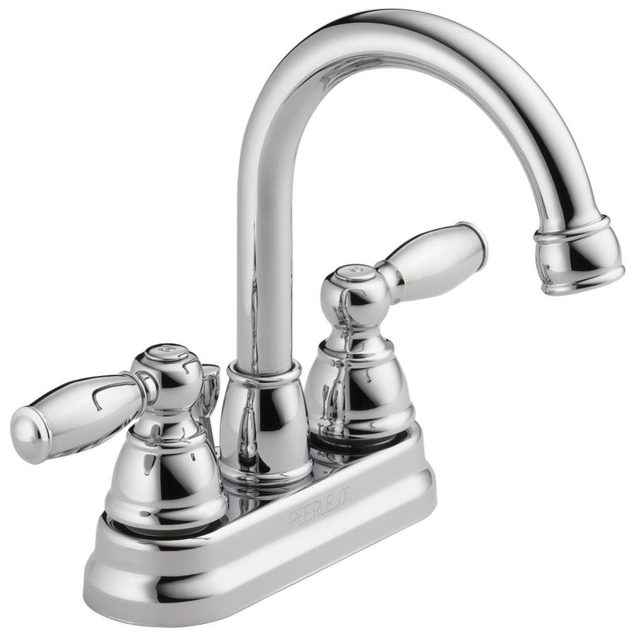 Peerless Apex Chrome 2Handle 4in Centerset WaterSense Bathroom Sink Faucet with Drain at Lowescom