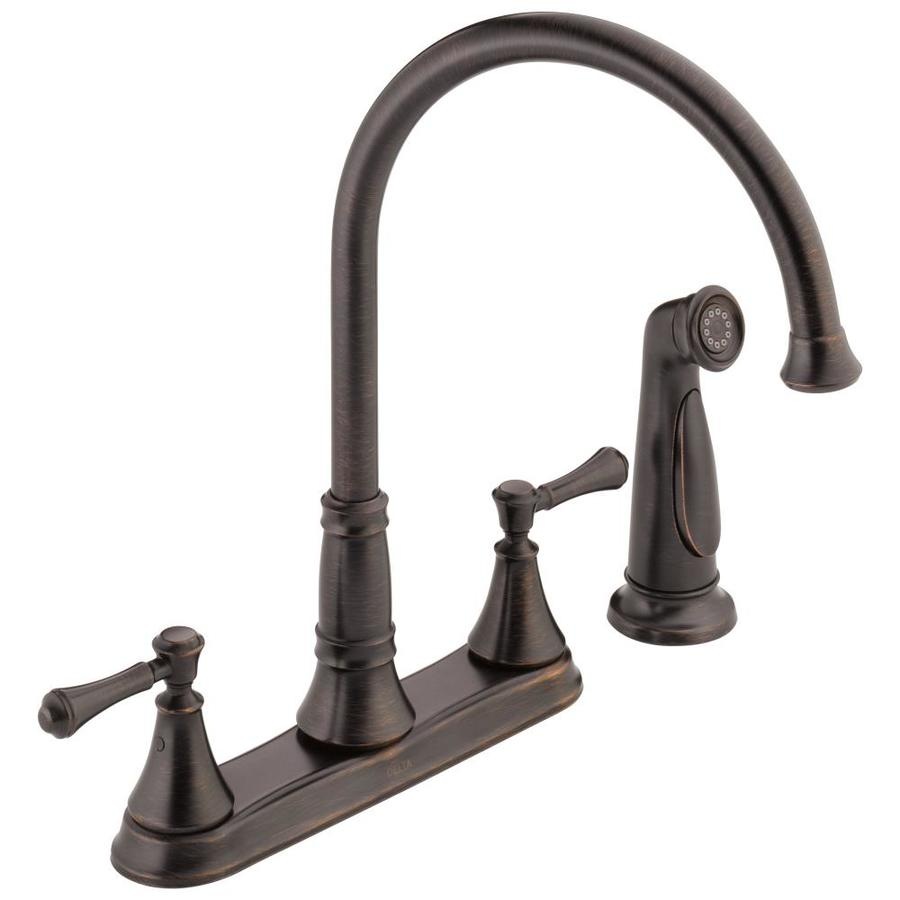 high flow rate kitchen faucets red light shades shop delta cassidy venetian bronze 2-handle high-arc ...