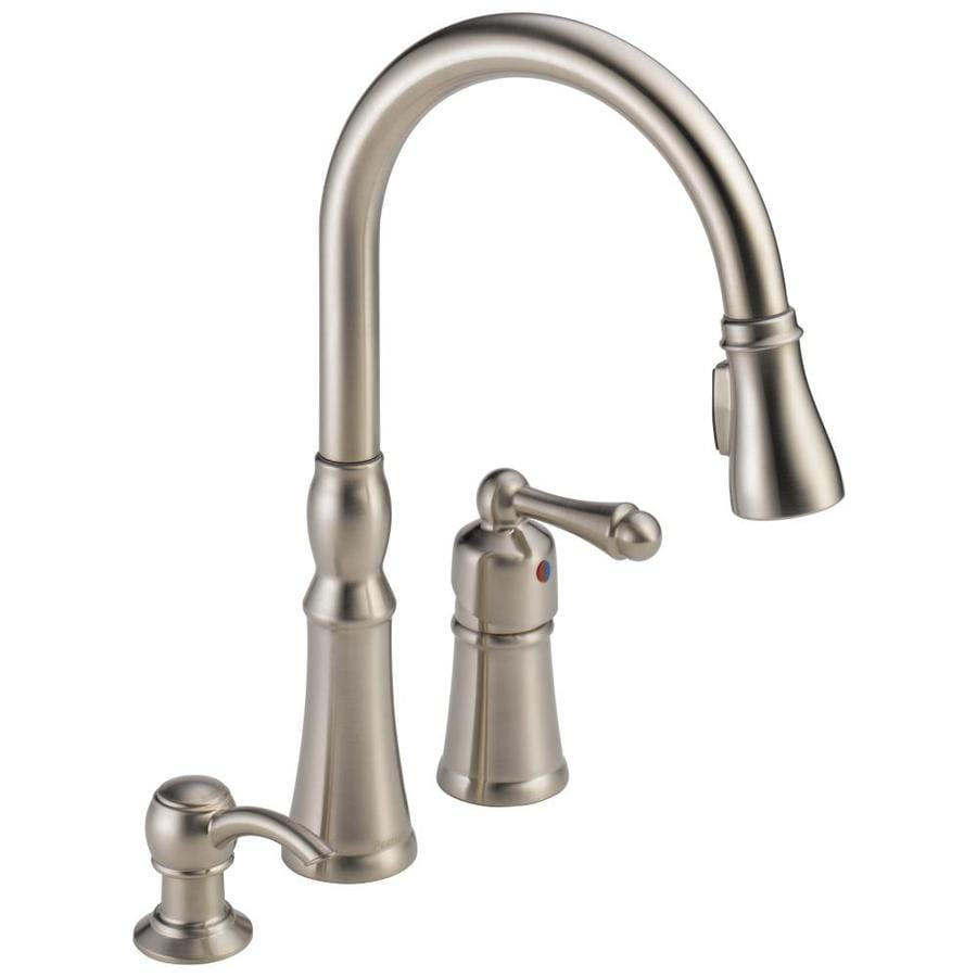3 hole kitchen faucet tile floors peerless decatur stainless 1 handle deck mount pull down