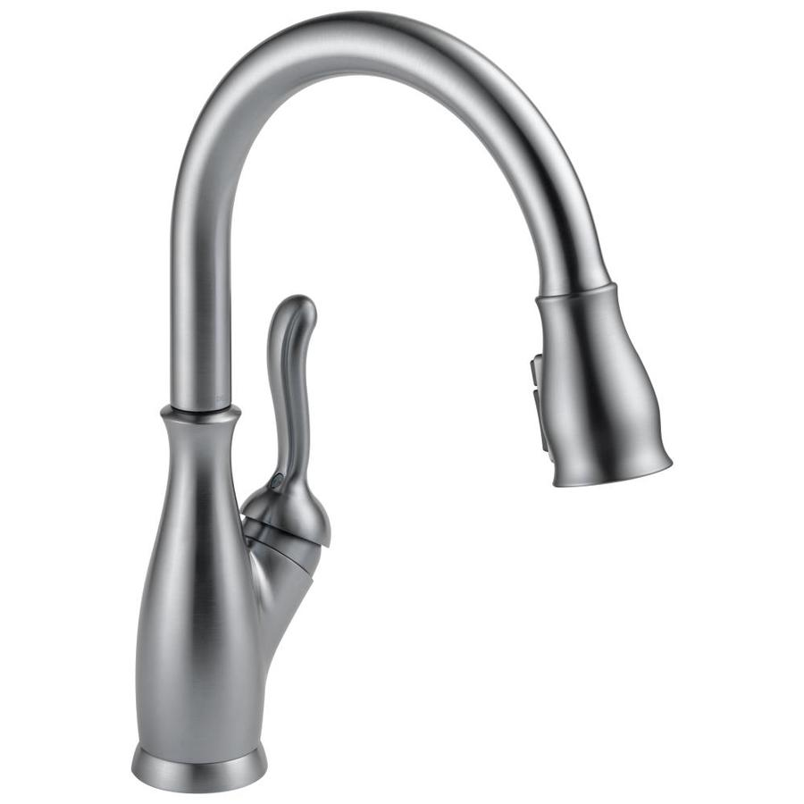 lowes delta kitchen faucets sinks undermount leland arctic stainless 1 handle deck mount pull down faucet