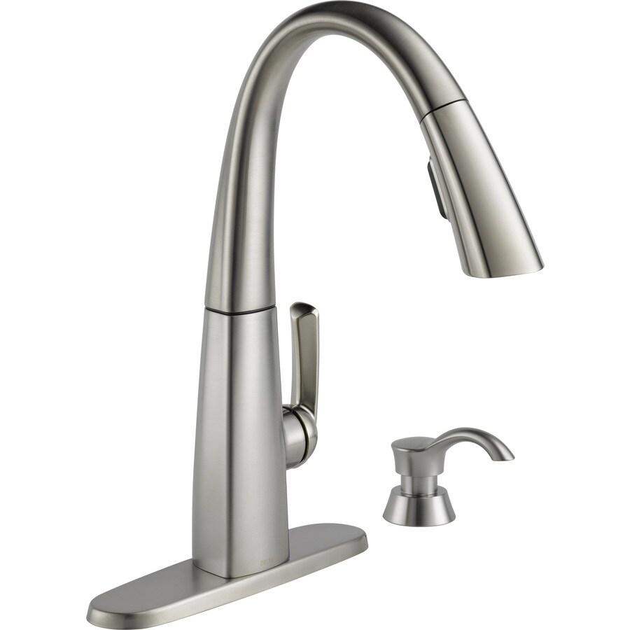 kitchen faucets for sale farm house sink lowes ekenasfiber johnhenriksson se delta arc spotshield stainless 1 handle deck mount pull down rh com