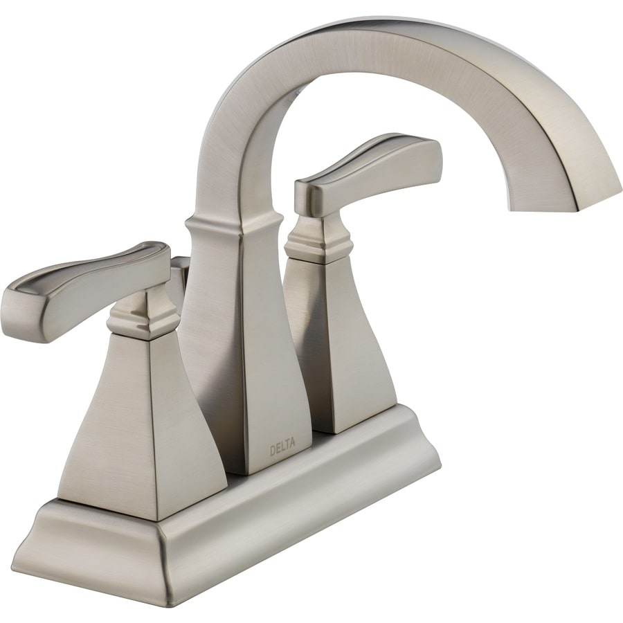 Delta Olmsted Spotshield Brushed Nickel 2Handle 4in Centerset Bathroom Sink Faucet at Lowescom