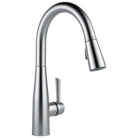 kitchen faucets with sprayer heat lamps at lowes com delta essa arctic stainless 1 handle deck mount pull down faucet
