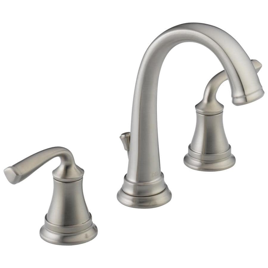 Delta Lorain Stainless 2Handle Widespread WaterSense Bathroom Sink Faucet with Drain at Lowescom