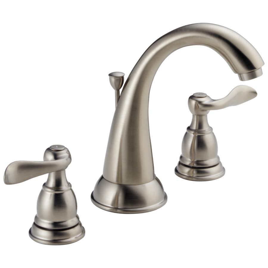 Delta Windemere Brushed Nickel 2Handle Widespread WaterSense Bathroom Sink Faucet with Drain at