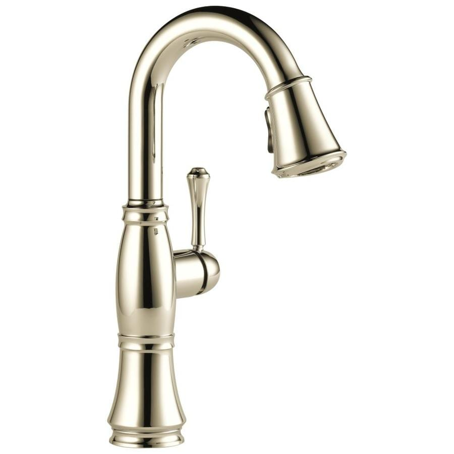 delta cassidy polished nickel 1 handle deck mount pull down residential kitchen faucet