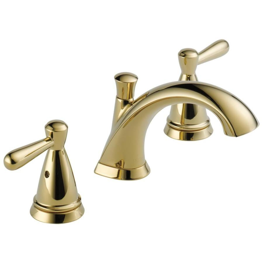 delta bayside polished brass 2 handle widespread watersense bathroom sink faucet with drain