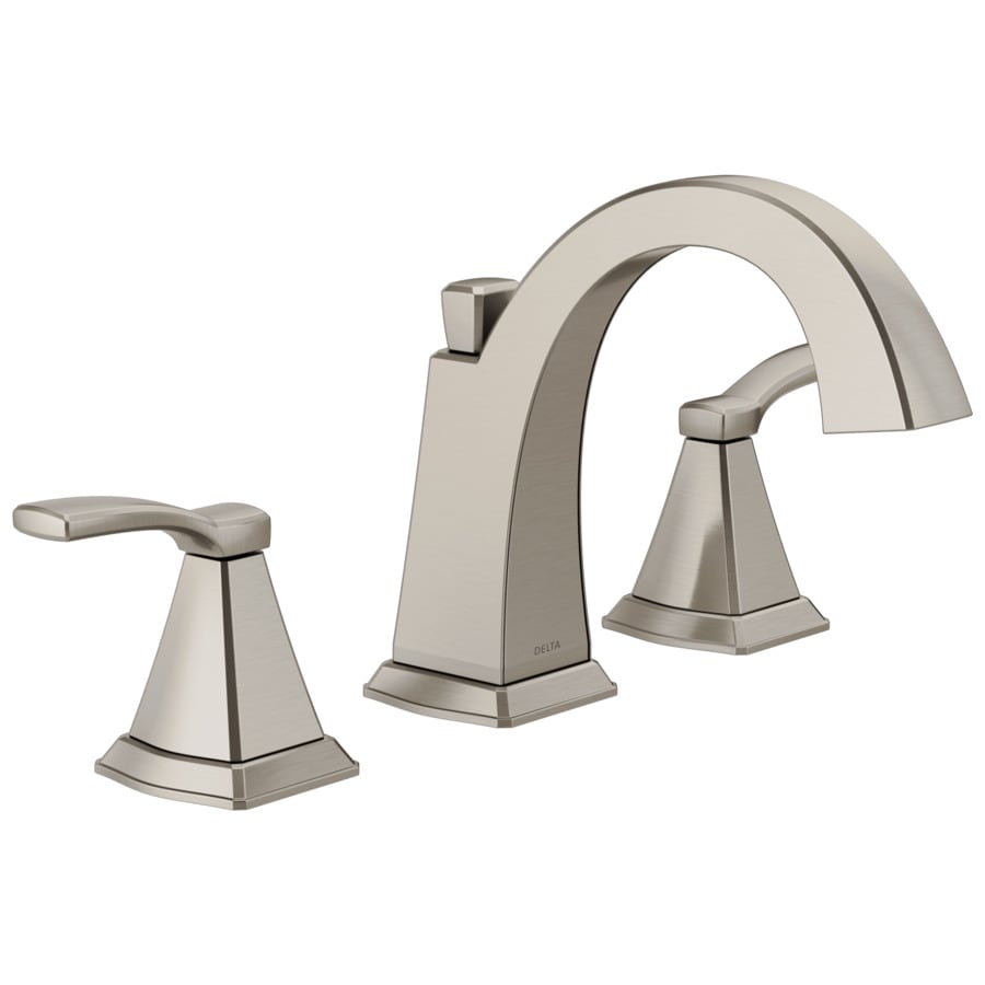 delta flynn stainless 2 handle widespread watersense bathroom sink faucet with drain lowes com