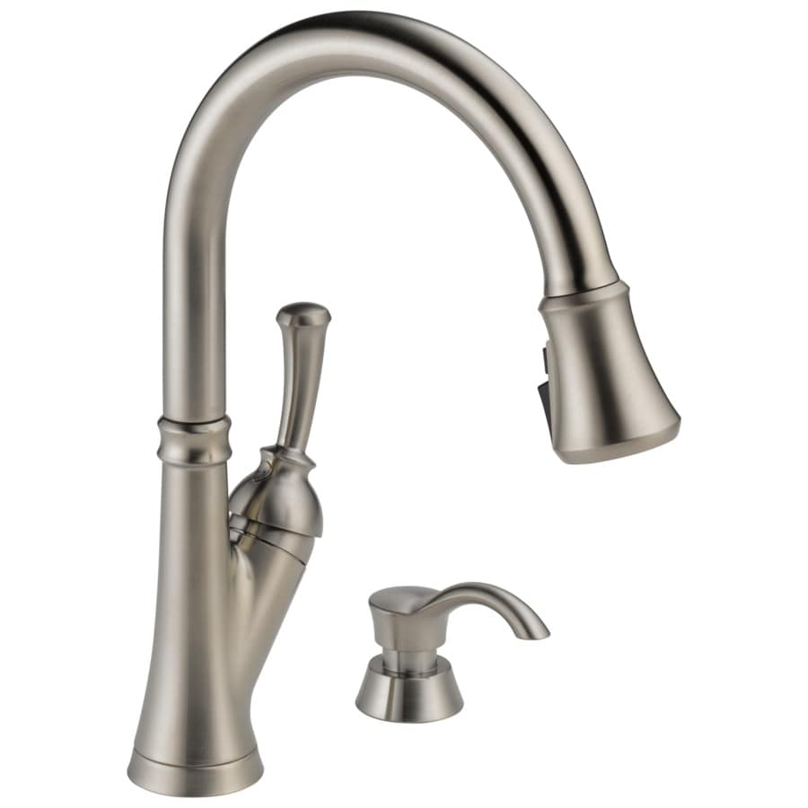 delta savile stainless 1 handle deck mount pull down handle kitchen faucet deck plate included lowes com