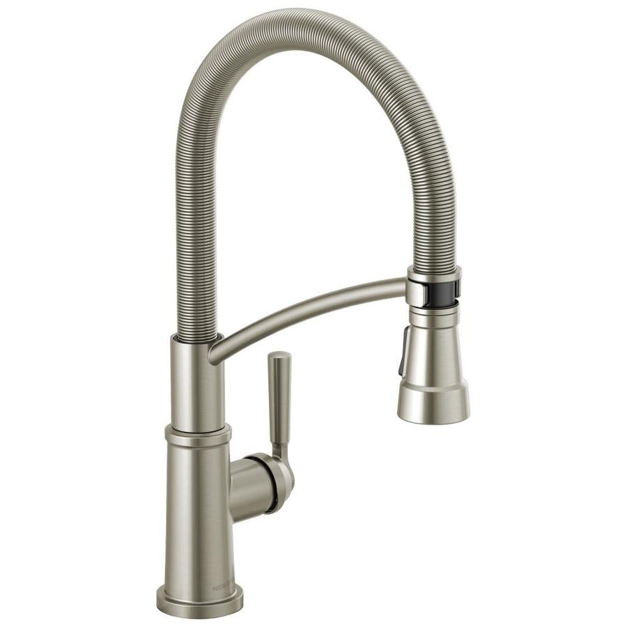 peerless westchester stainless 1 handle deck mount pull down handle kitchen faucet