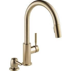 lowes delta kitchen faucets how to paint your cabinets at com trask champagne bronze 1 handle deck mount pull down faucet