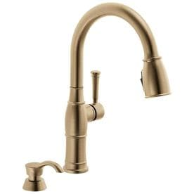 lowes delta kitchen faucets floor cupboards at com valdosta champagne bronze 1 handle deck mount pull down shieldspray faucet