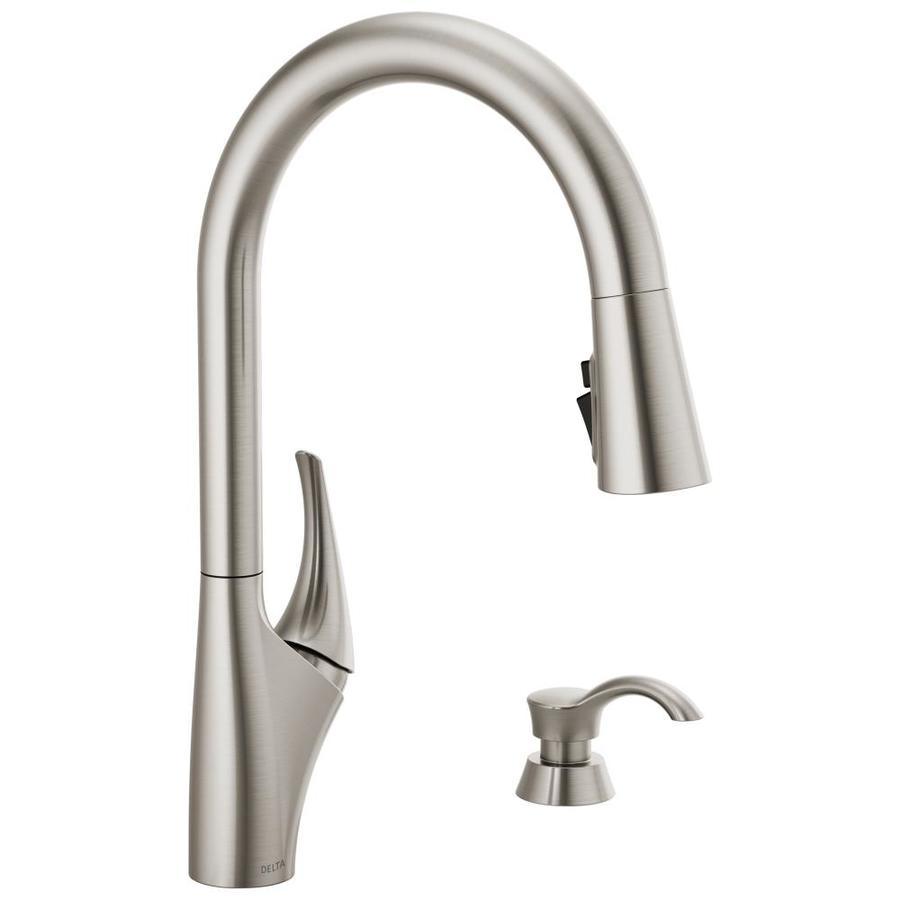 delta anderson spotshield stainless 1 handle deck mount pull down handle kitchen faucet deck plate included