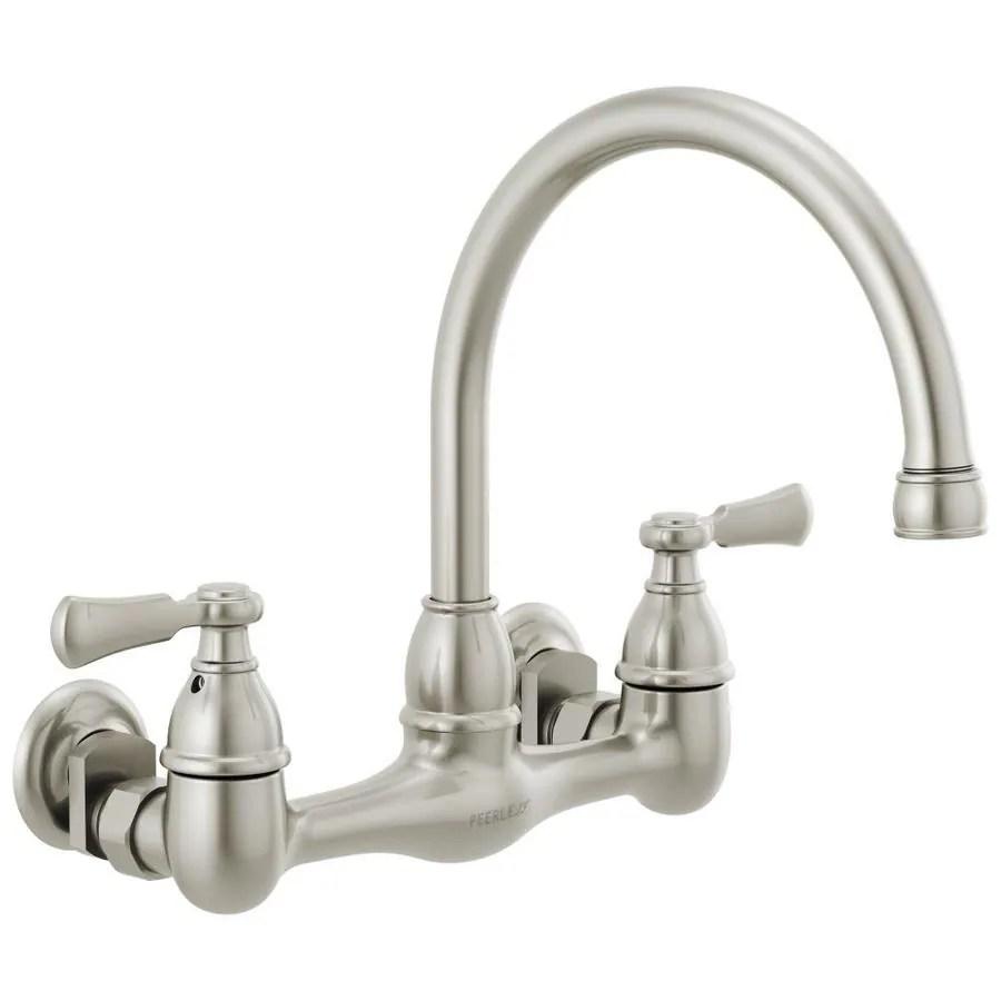 peerless elmhurst stainless 2 handle wall mount high arc handle kitchen faucet