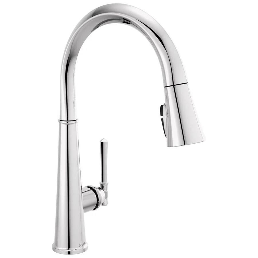 delta emmeline lumicoat chrome 1 handle deck mount pull down handle kitchen faucet deck plate included