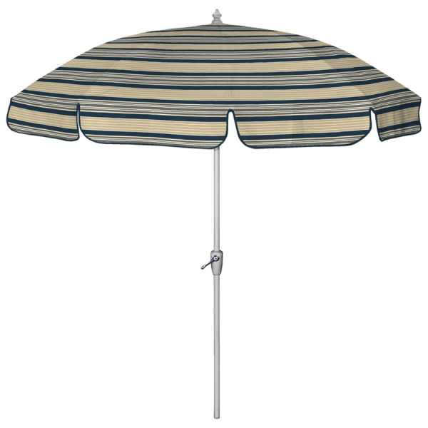 "7'6"" Navy Blue Striped Patio Umbrella"