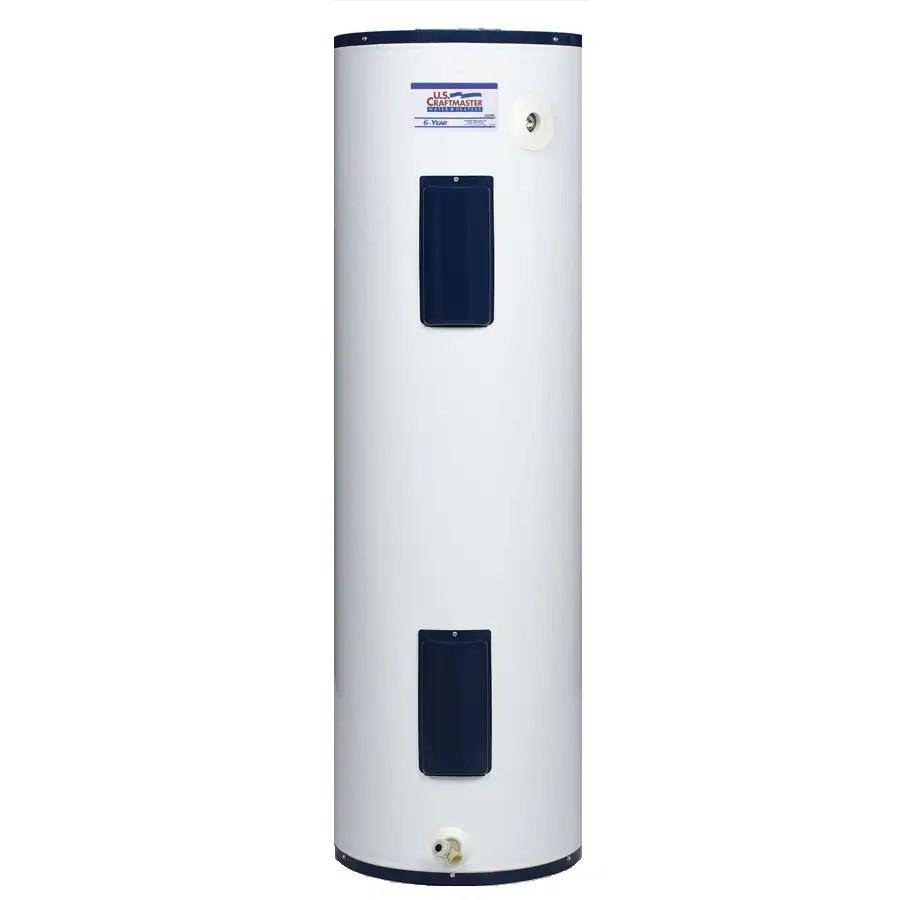 medium resolution of u s craftmaster 40 gallon regular 6 year warranty 4500 watt double element electric water heater