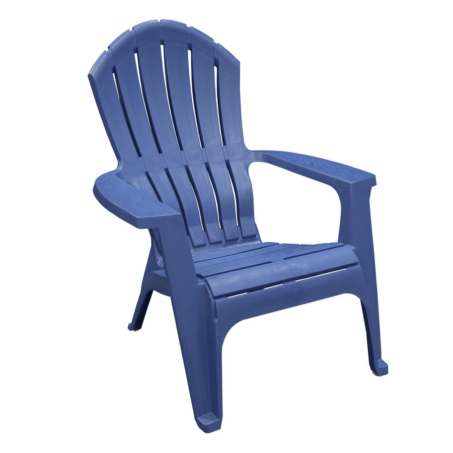 adams manufacturing realcomfort stackable blue plastic frame stationary adirondack chair s with solid seat