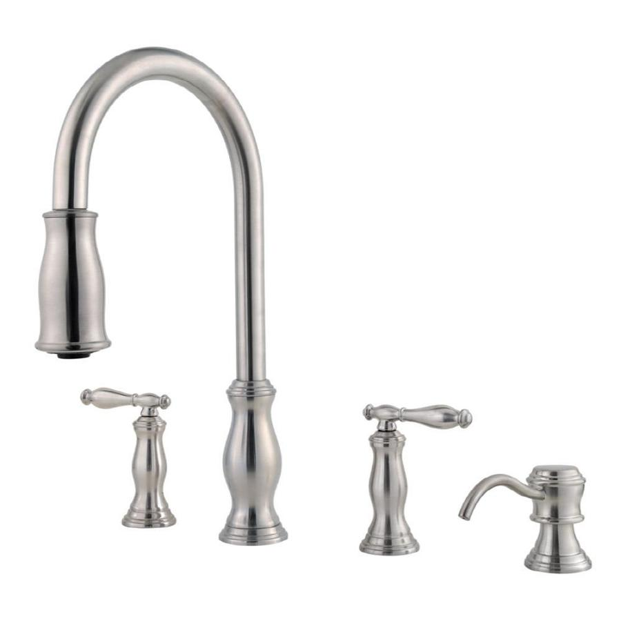 stainless steel kitchen faucet with pull down spray rustic sinks pfister hanover 2 handle at