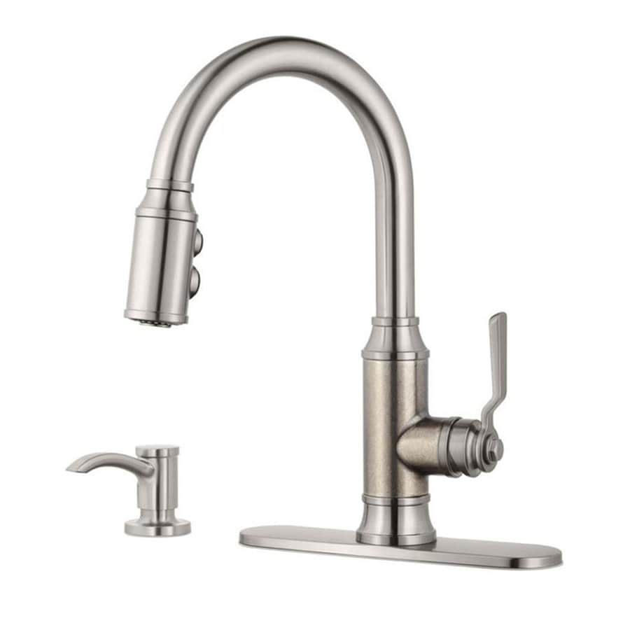 pewter kitchen faucet used tables pfister breckenridge stainless steel rustic 1 handle deck mount pull down