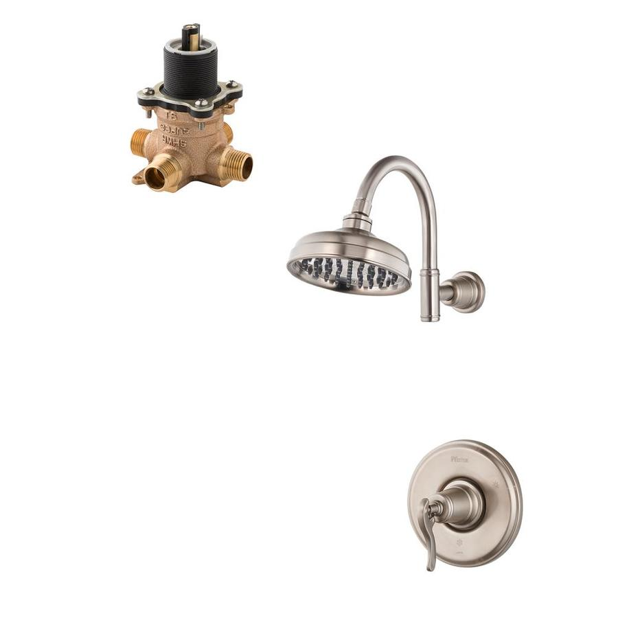 pfister ashfield bath brushed nickel 1 handle shower faucet with valve