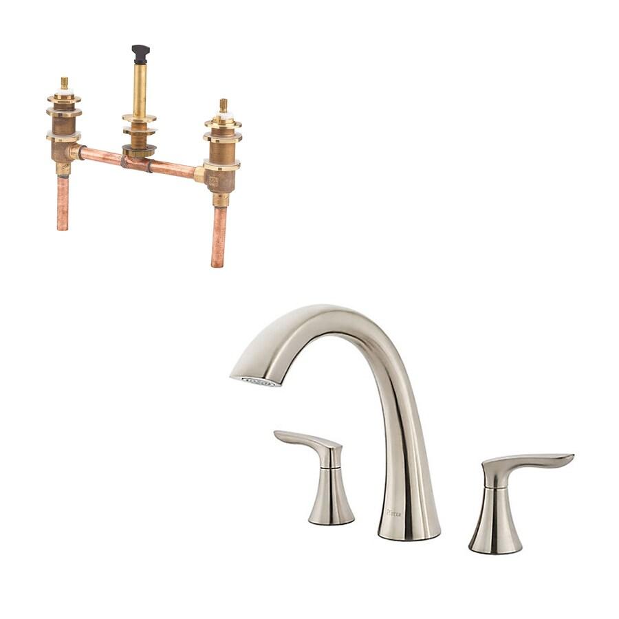 pfister weller brushed nickel 2 handle residential deck mount roman bathtub faucet