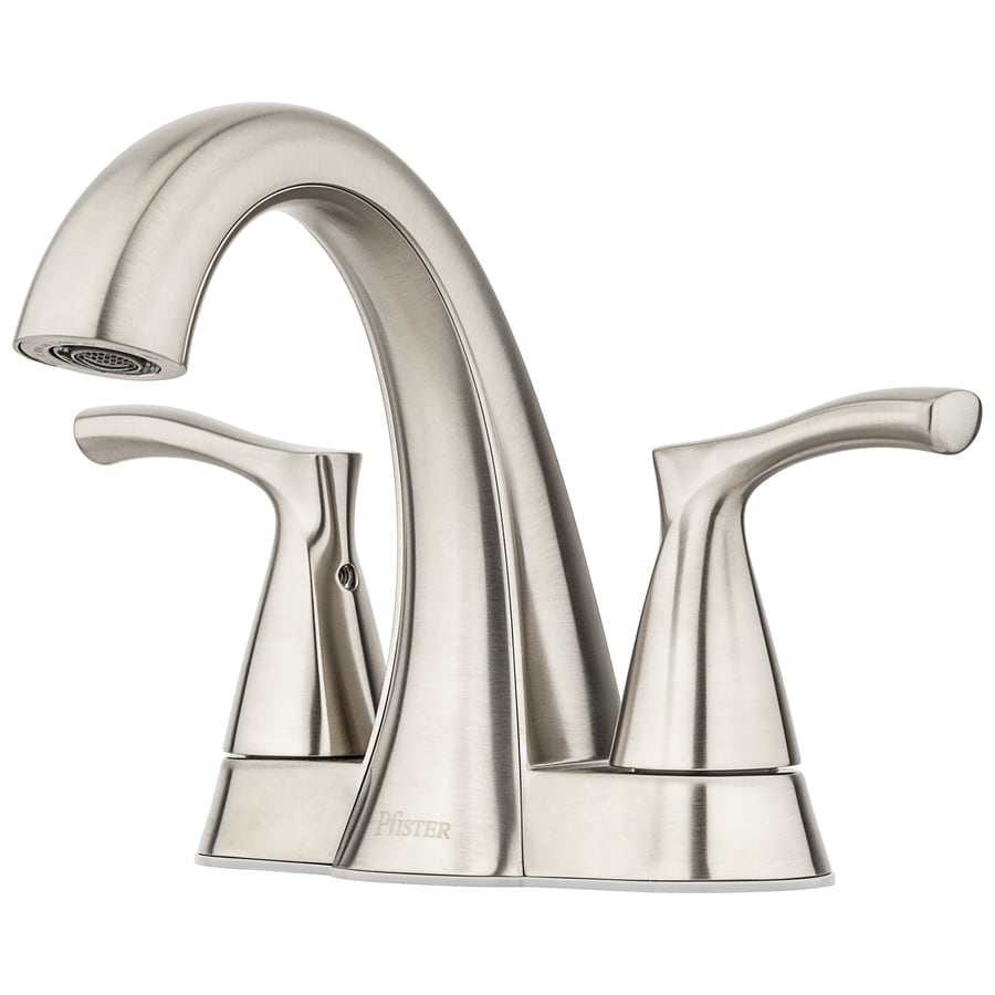 pfister masey brushed nickel 2 handle 4 in centerset watersense bathroom sink faucet with drain and deck plate