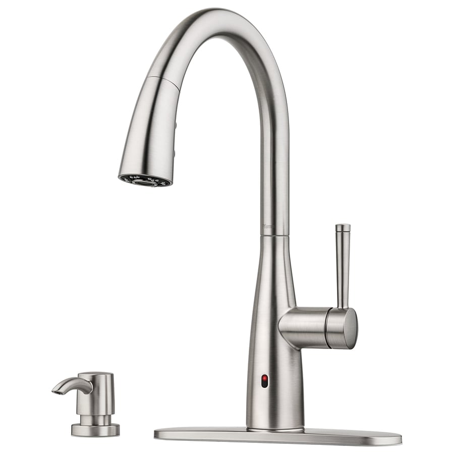 pfister raya spot defense stainless steel 1 handle deck mount pull down touchless kitchen faucet deck plate included