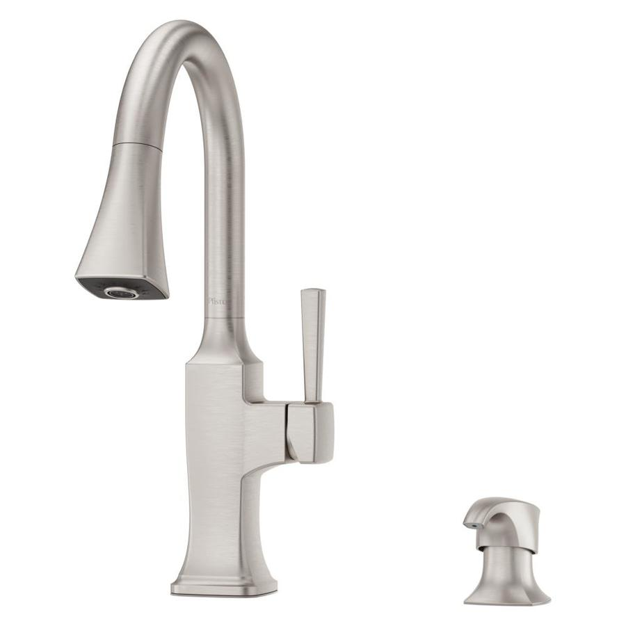 pfister kroft spot defense stainless steel 1 handle deck mount pull down handle kitchen faucet deck plate included