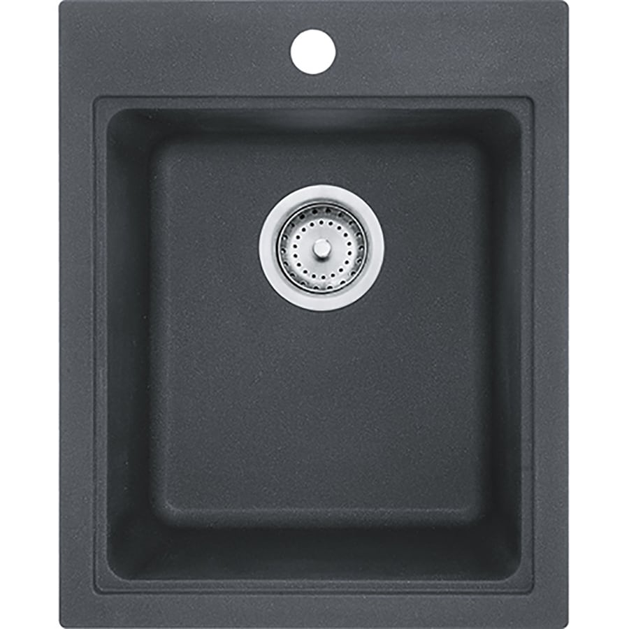 undermount kitchen sinks at lowes outdoor roof shop franke quantum graphite 3-hole granite drop-in or ...