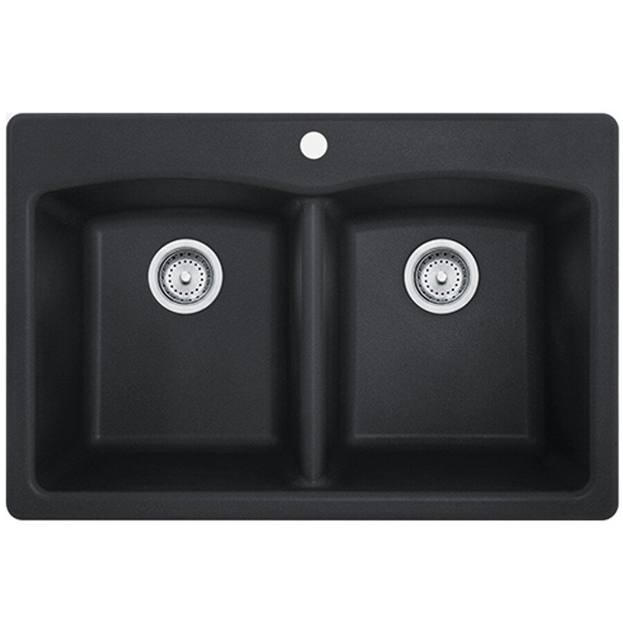 black kitchen sink lowes cherry cart franke ellipse 33 in x 22 onyx double basin drop or undermount