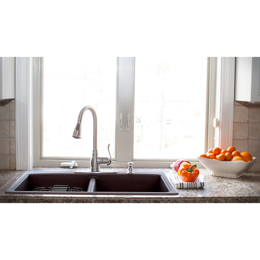 Best Kitchen Gallery: Shop Franke Ellipse 33 In X 22 In Mocha Double Basin Granite Drop In of Lowe S Kitchen Sinks on rachelxblog.com