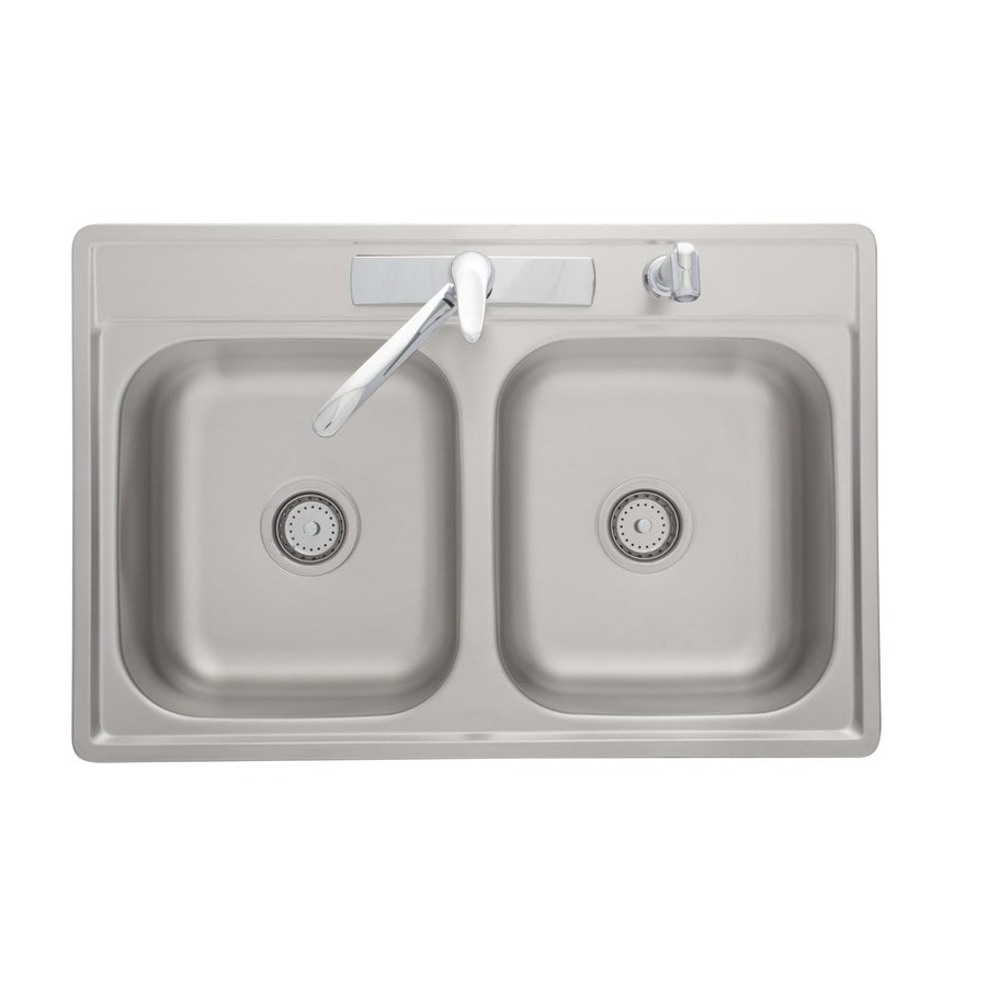 stainless steel kitchen sinks 33 x 22 sink water filter shop kindred essential 33-in 22-in satin double-basin ...