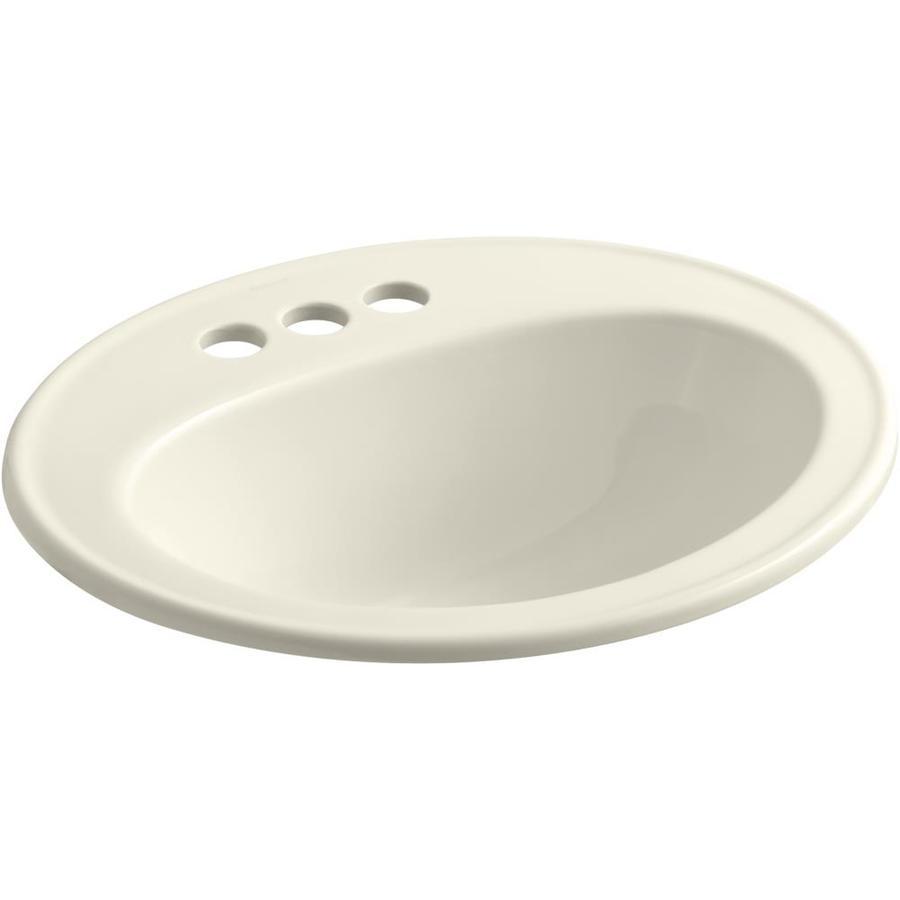 KOHLER Pennington Almond DropIn Oval Bathroom Sink with