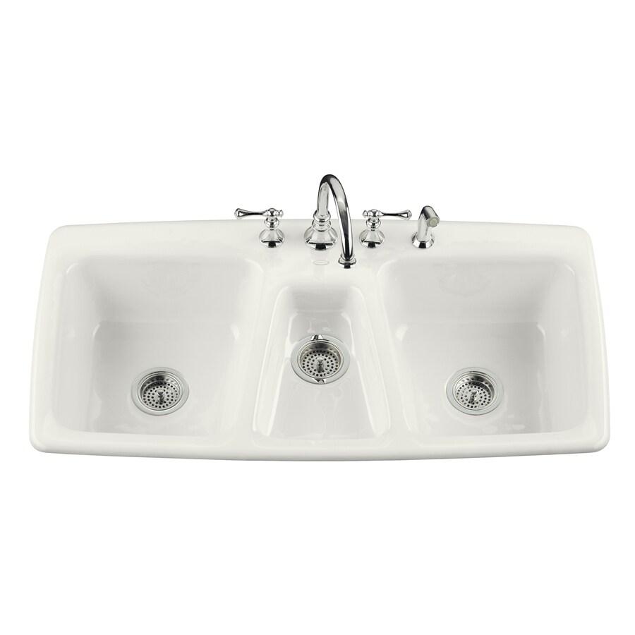 cast iron kitchen sinks kids step stool kohler trieste triple basin drop in enameled sink