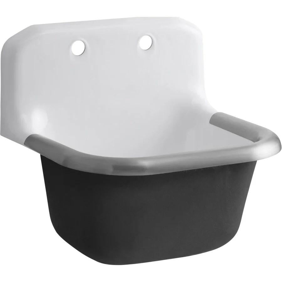 kohler 20 25 in x 24 in 1 basin white wall mount laundry sink