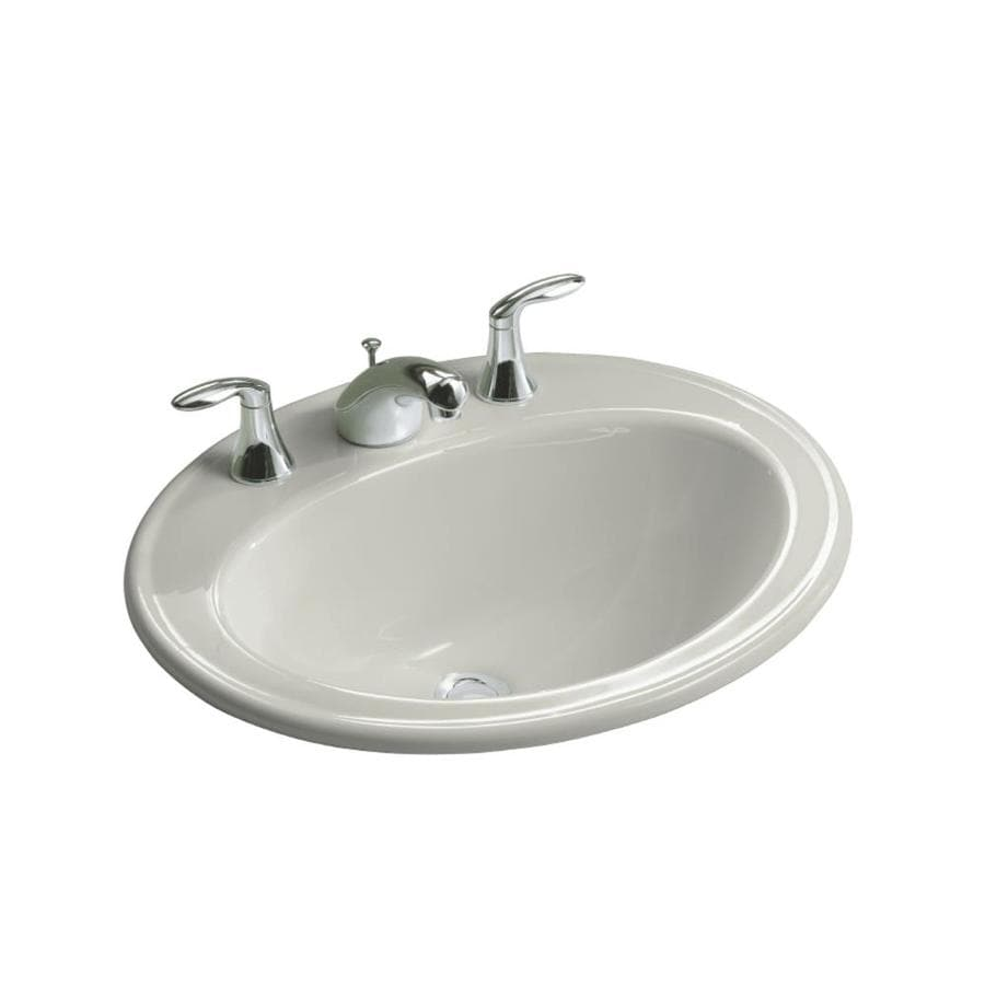 KOHLER Pennington Ice Grey DropIn Oval Bathroom Sink with Overflow Drain at Lowescom