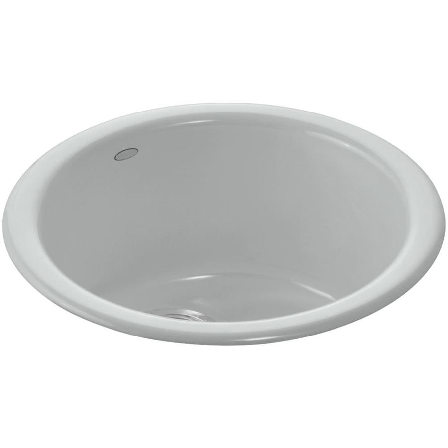 kohler 18 375 in l x 18 375 in w ice grey 1 hole cast iron commercial residential bar sink
