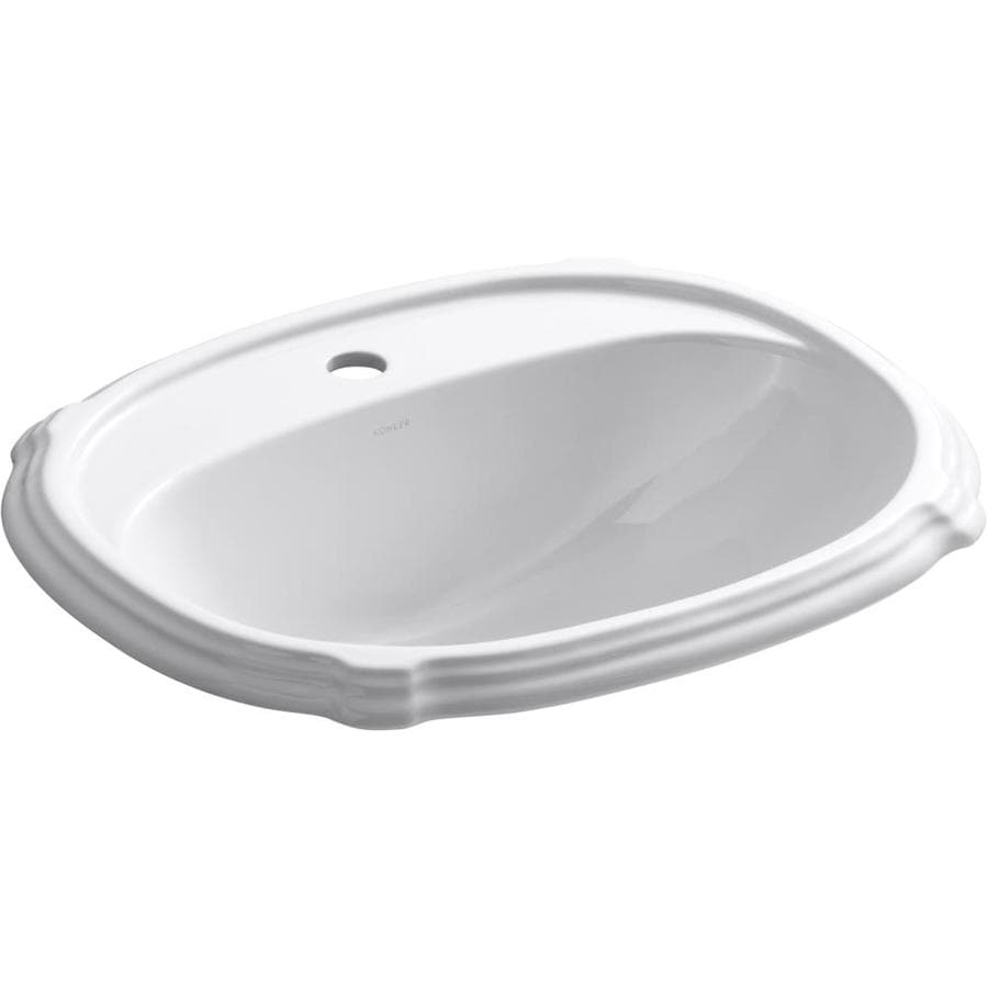 KOHLER Portrait White DropIn Oval Bathroom Sink with Overflow Drain at Lowescom