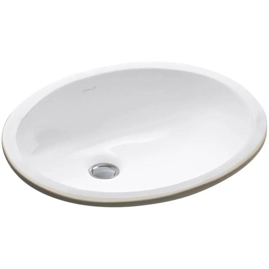 KOHLER Caxton White Undermount Oval Bathroom Sink with