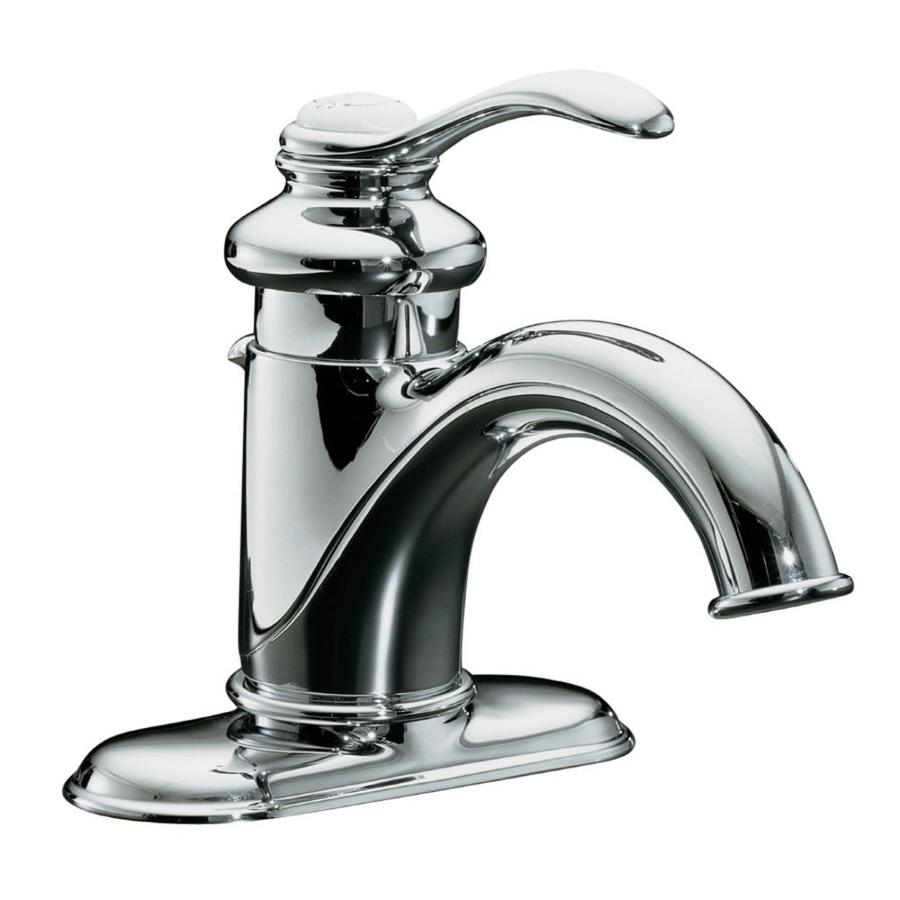 KOHLER Fairfax Polished Chrome 1handle 4in Centerset WaterSense Bathroom Sink Faucet with