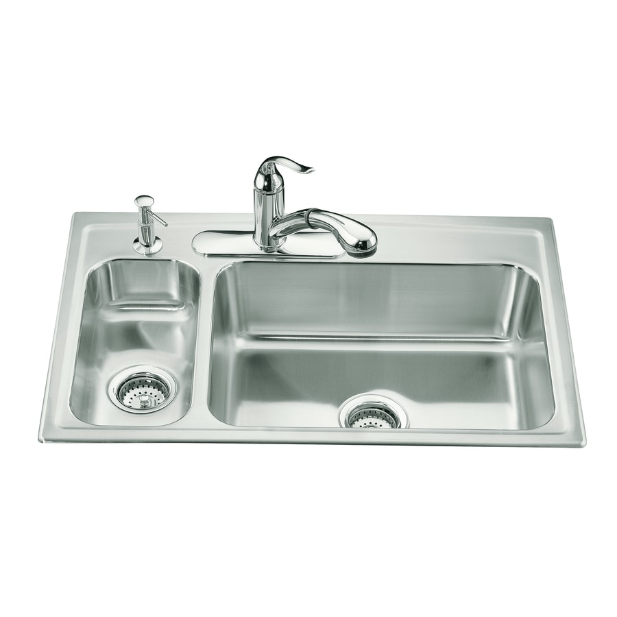 kohler toccata 22 in x 33 in double basin stainless steel drop in 3 hole commercial residential kitchen sink in the kitchen sinks department at lowes com