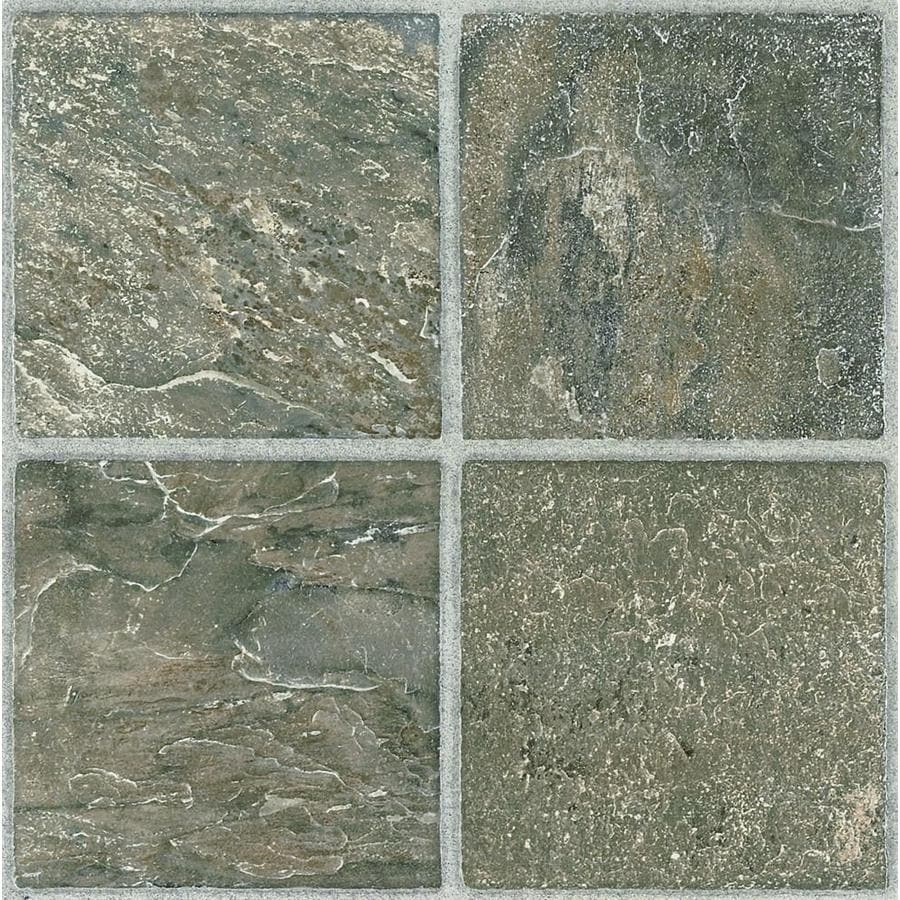 style selections tumbled stone 12 in x 12 in water resistant peel and stick vinyl tile 1 sq ft lowes com