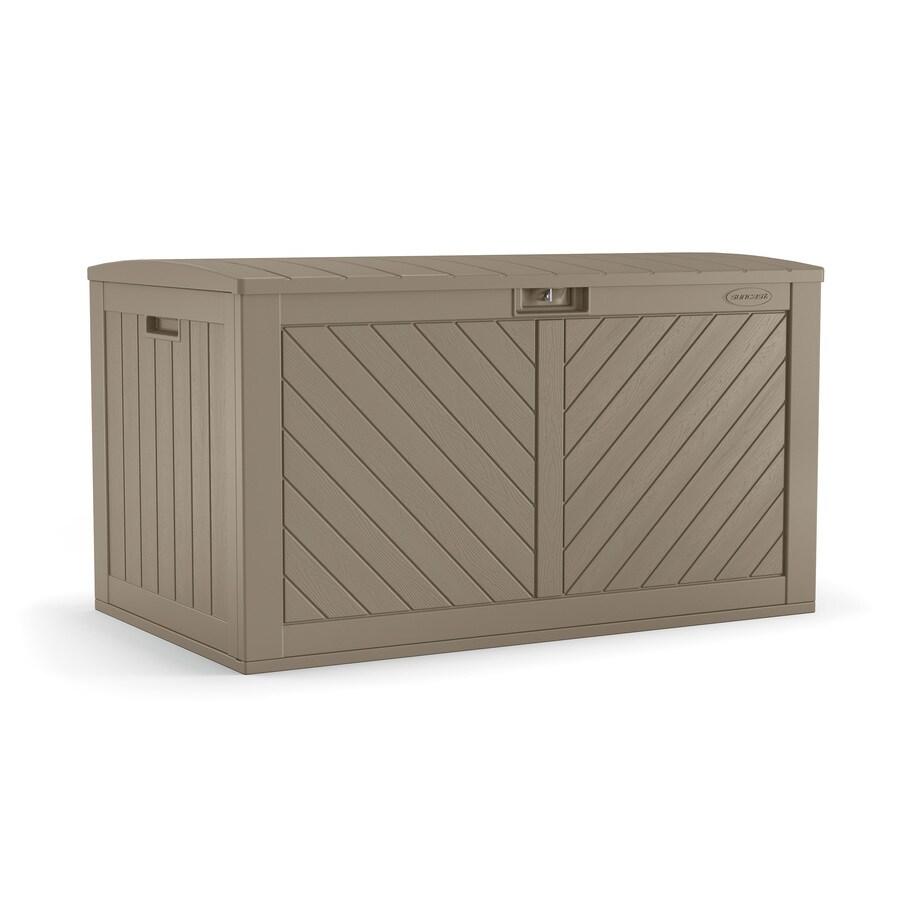 suncast 26 75 in l x 49 25 in 134 gallon brown plastic deck box