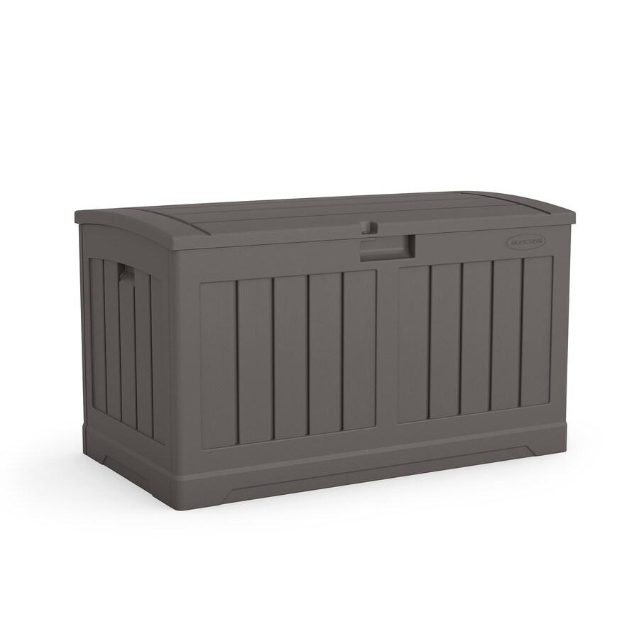 suncast 21 25 in l x 39 in 50 gallon stoney plastic deck box lowes com