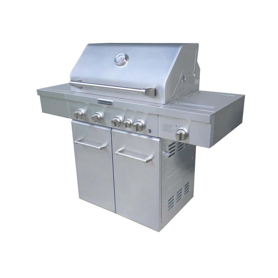 kitchen aid gas grills cleaning products kitchenaid 4 burner 40 000 btu liquid propane and natural grill with side rotisserie