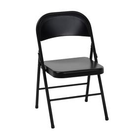 chair steel folding baby room chairs at lowes com cosco indoor only black standard